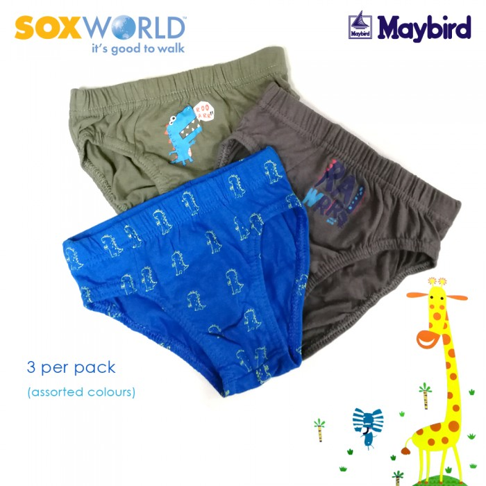 SoxWorld 3 in 1 Boys Briefs Underwear Innerwear Dinosaur 63-029