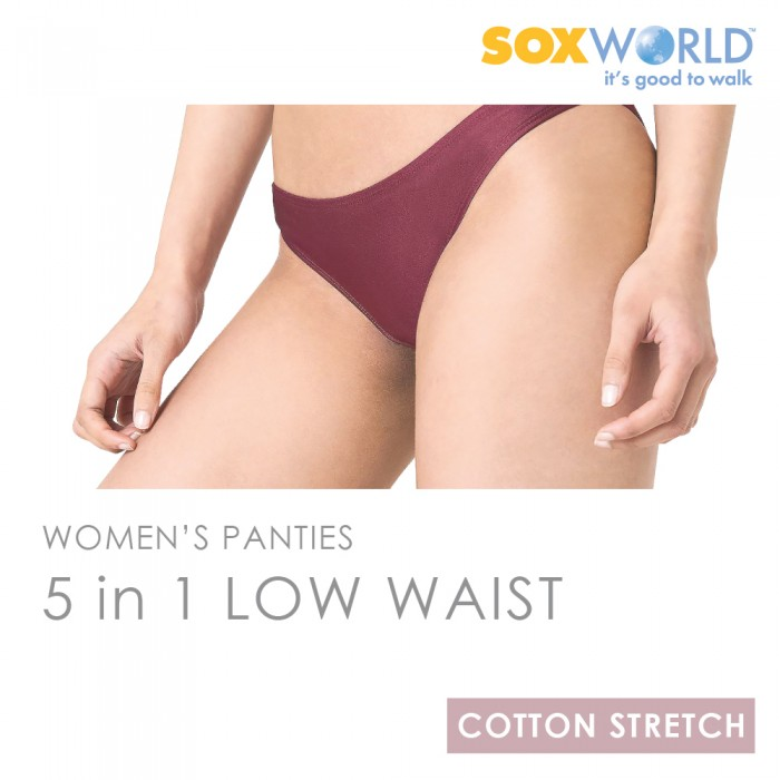 SoxWorld 5 in 1 Ladies Panties Innerwear Underwear Bikini Low Waist 65-907B