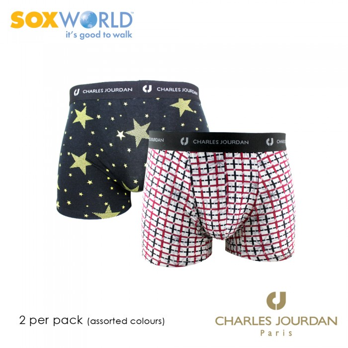 2 in 1 Charles Jourdan Modal Stretch Boxer Trunk Underwear Innerwear Soxworld 50-CT-18
