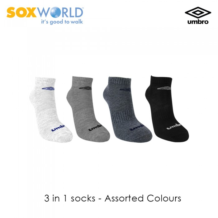 3 in 1 Umbro Normal Unisex Ankle Sport Socks 30-3319