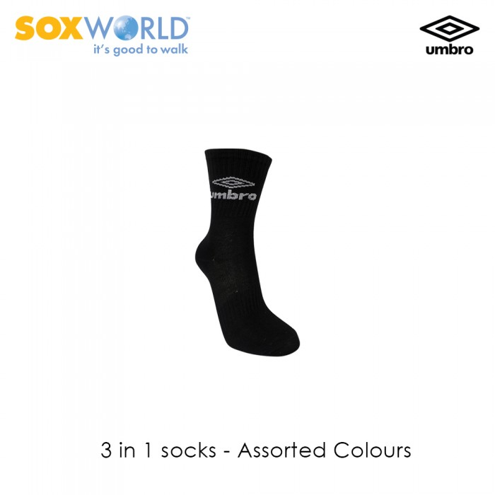 3 in 1 Umbro Normal Unisex Crew Sport Socks 30-3321