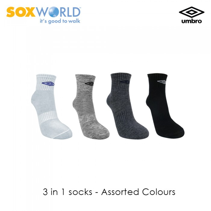 3 in 1 Umbro Normal Unisex Quarter Sport Socks Extra Cushioning 30-3322