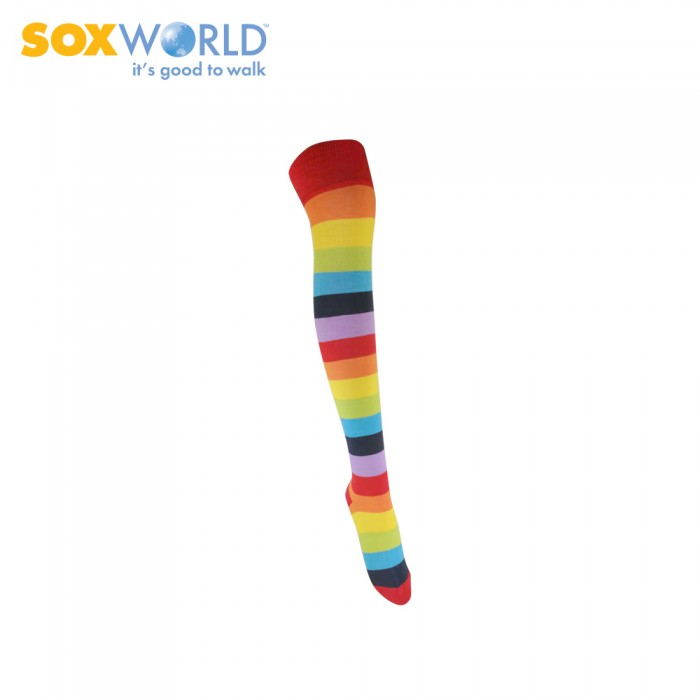 1 piece SOXWORLD Ladies Rainbow Stripes Socks Above Knee 12-5612