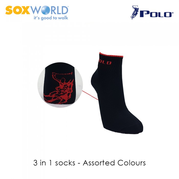 3 in 1 Polo Haus Men's Ankle Sport Socks 25-3247