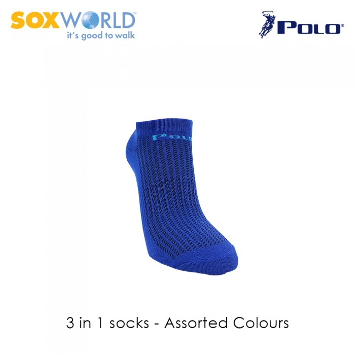 3 in 1 Polo Haus Men's Ankle Socks by Sox World (3 Pcs) 25-3248