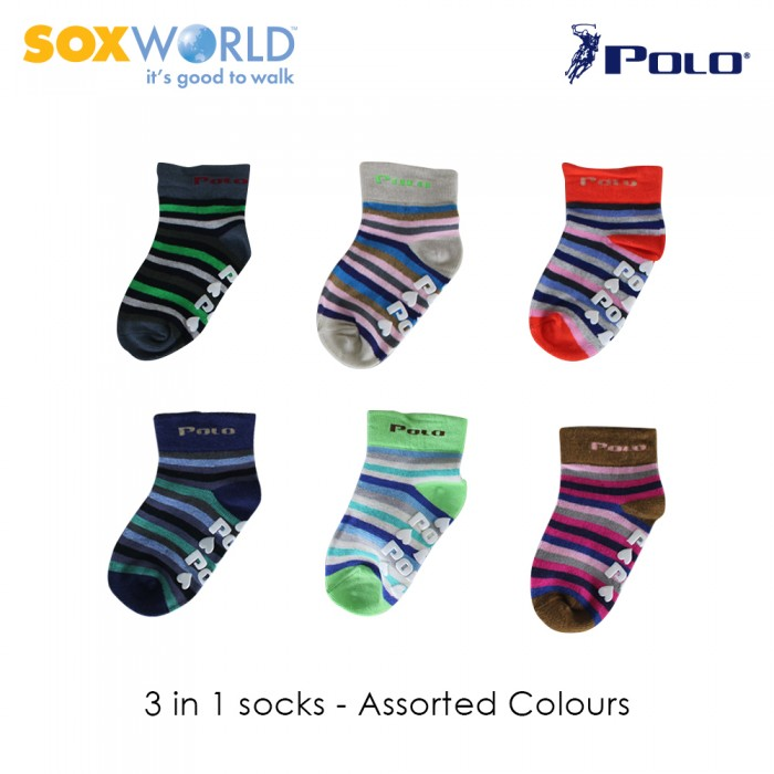 Polo Haus 3 in 1  Antislip Socks for Kids Unisex Socks (1 to 4 years old) 25-39100