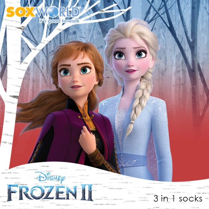 3 in 1 Disney Frozen 2 Girls Ankle Socks Elsa Olaf Anna 52-013