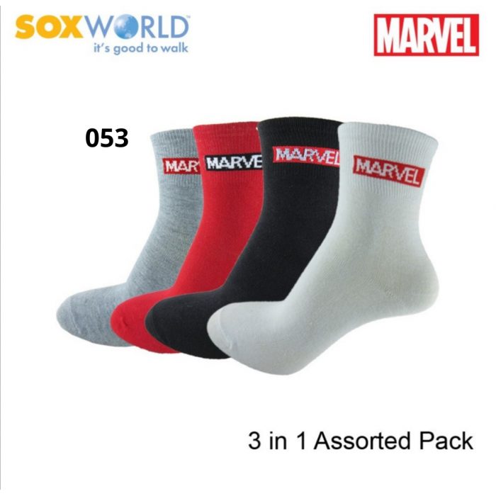 3 in 1 Marvel Kids Ankle Socks Super hero Comic Cartoon Socks (3 Pcs)