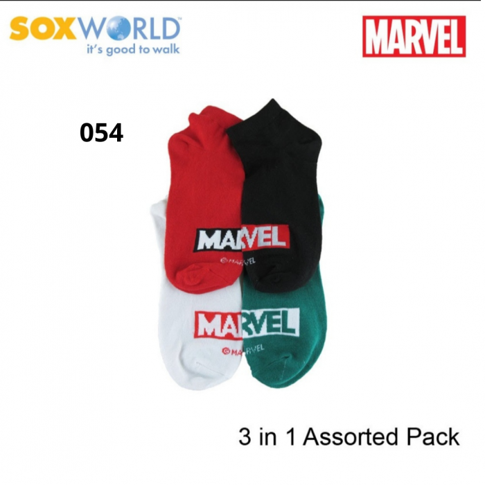 Marvel Ladies Socks by Sox World 78-054L Assorted Color (3 Pcs)