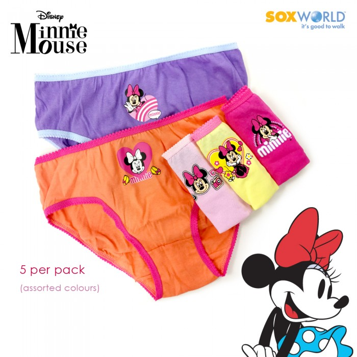 5 in 1 Disney Minnie Mouse Girls Panties Panty Girl Sox World 80-054B