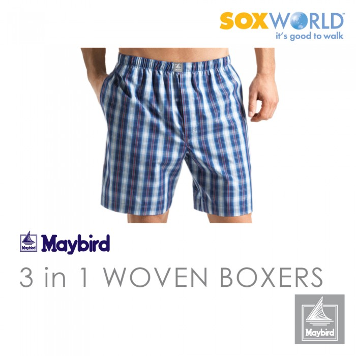 3 in 1 Maybird Men Briefs Underwear Undergarment Innerwear Woven Boxer Trunk 63-631