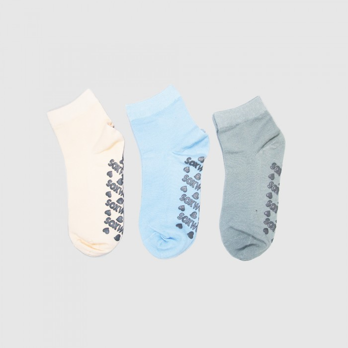 Sox World Women Non Slip Low Cut Socks - 3 Pairs Pack (Assorted Colour)