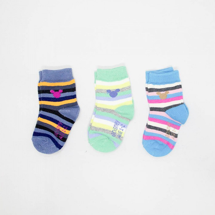 Mickey Mouse Kids Low Cut Socks - 3 Pieces (Assorted Colour)