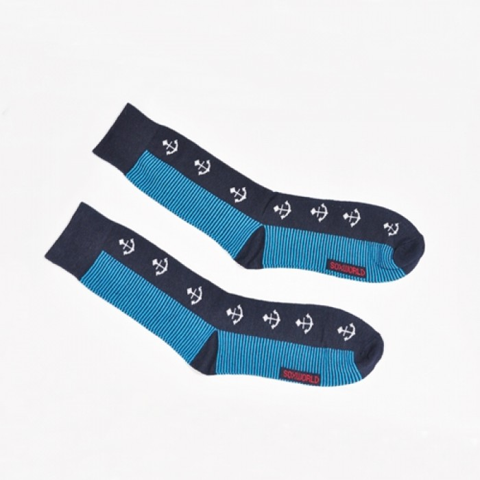 Sox World Anchor Designed Men Calf Socks (Light Blue)