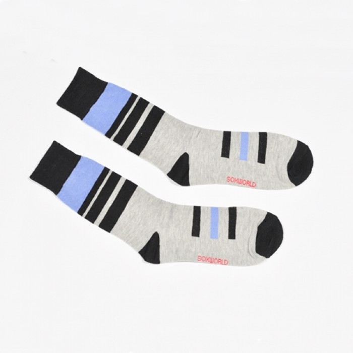 Sox World Basic Stripe Men Calf Socks (White)