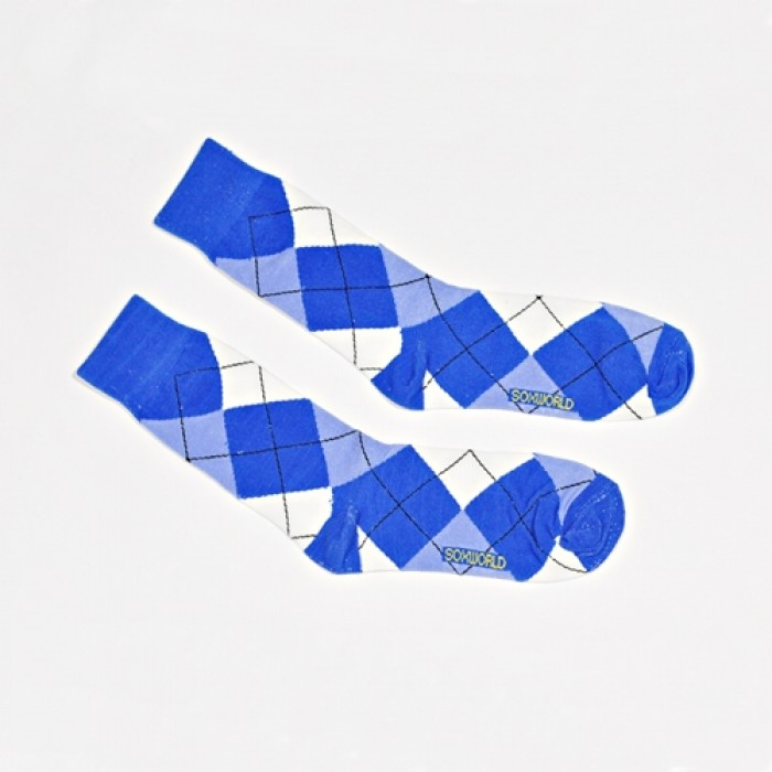 Sox World Blue Checkers Men Calf Socks