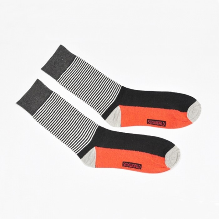 Sox World Red Black Stripe Men Calf Socks
