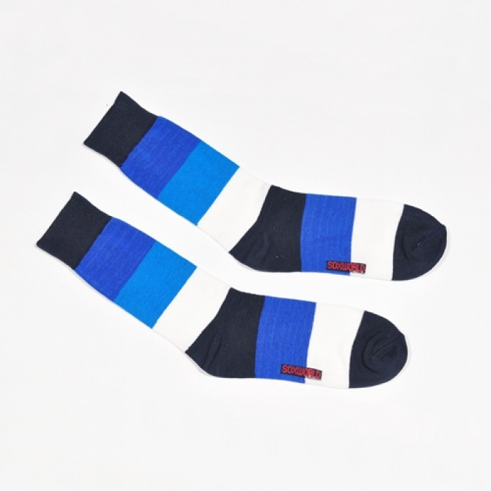 Sox World Blue White Stripe Men Calf Socks