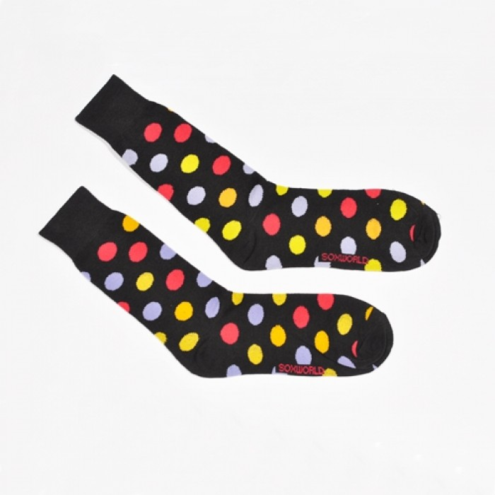 Sox World Multi Colour Dots Men Calf Socks