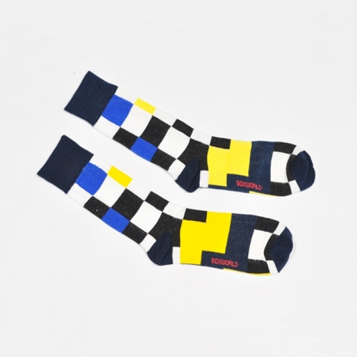 Sox World Tri-Colour Checkers Men Calf Socks