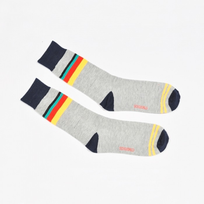 Sox World Tri-Colour Stripe Men Calf Socks
